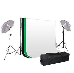 Kit d'éclairage pour studio photo -- Support de fond+3 couleurs de Tissus de fond en 100% COTON +2*Parapluies translucides+ 2*Ampoule 125W +sac de transport