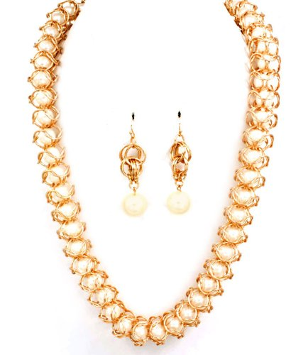 Sparkles Fashion Necklace - Cream Gold Tone Necklace and Earring SET / Long Necklace / Faux Pearl Bead / Embedded / Metal Rings / 30 Inch Long / Nickel and Lead Compliant / - Dangle Drop Statement Wedding Jewelry