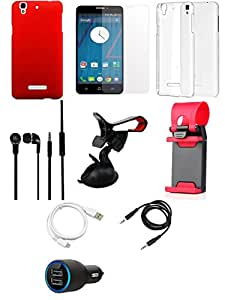 NIROSHA Tempered Glass Screen Guard Cover Case Car Charger Headphone USB Cable Mobile Holder car Combo for YU Yureka Combo