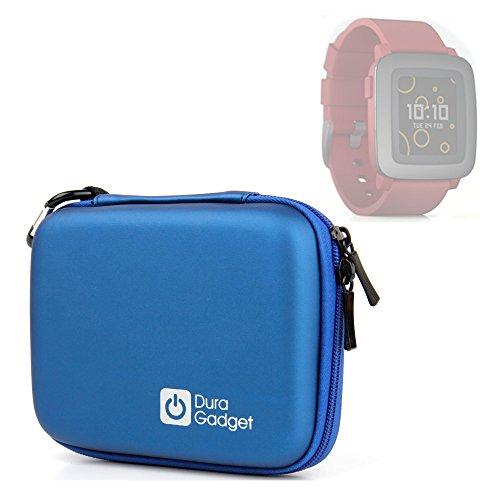 duragadget-pebble-smartwatch-case-premium-quality-blue-hard-eva-shell-case-with-carabiner-clip-twin-