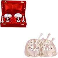 Silver Plated 2 Ice Cream Mug With Spoon And Silver Plated Premium 4 Bowl Set With Rectangle Tray