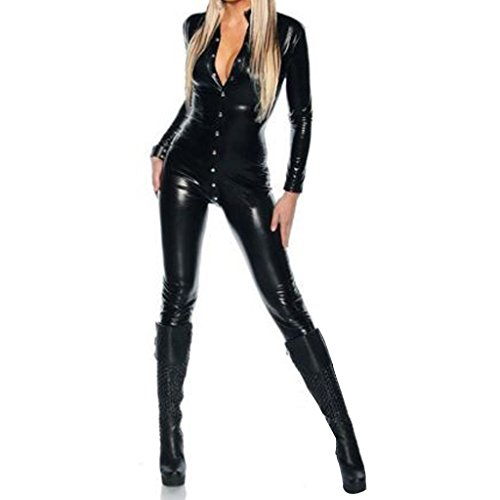 Colorful-House-Womens-Costume-Wet-Look-Black-Catsuit-Bodysuit-US-Size-2-12
