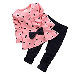 Baby Girls\' 2pcs Toddler Bowknot Hearts Long Sleeve Top Leggings Set(90,Pink)