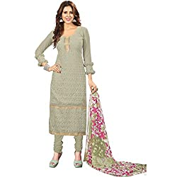 Manthan Georgette Olive Embroidered Women's Chudidar Suit MNTKFBRCRHI41009