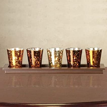 Multicolored (Gold, Brass, Copper) Mercury Glass Votive or Tealight Candle Holders with Runner Wooden Tray by Caspari