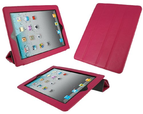 rooCASE Smart Case (Magenta) Leather Cover for Apple iPad 2 Wifi / 3G Model 16GB, 32GB, 64GB
