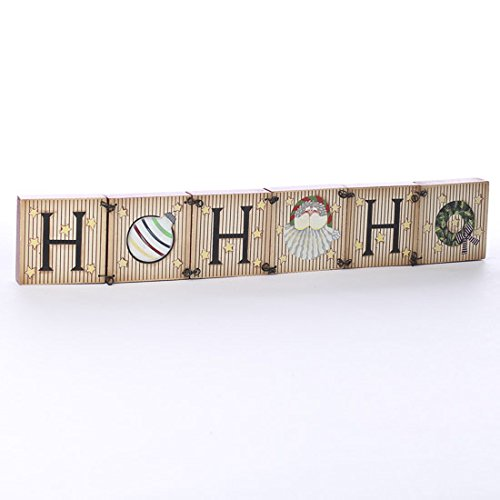 """Ho Ho Ho"" Black Wire Connected Wood Block Shelf Sitter Holiday Sign - 1"