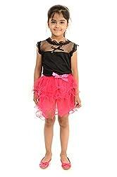 StyleMyKidz Girls' Top and Skirt Set (GST103_4 Years, Pink & Black, 4 Years)