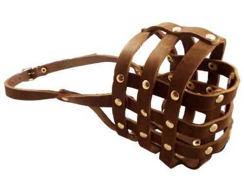 Soft Genuine Leather Dog Basket Muzzle #109 Brown - Boxer, Bulldog (Circumference 13