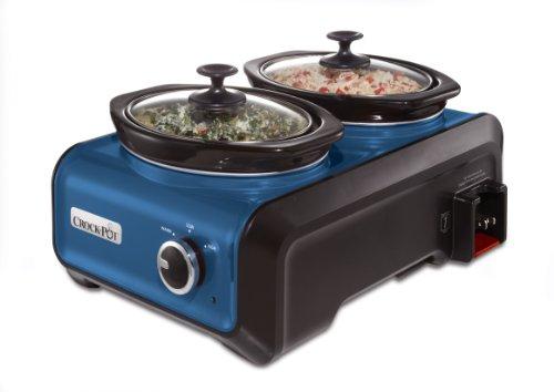 Crock-Pot SCCPMD1-BL Hook Up Double Oval Connectable Entertaining System, 1-Quart, Metallic Blue (1quart Cast Iron Pot compare prices)