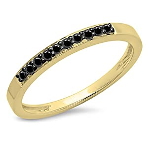 0.15 Carat (ctw) 10K Yellow Gold Black Diamond Ladies Anniversary Wedding Band Stackable Ring (Size 4.5)