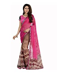 Admyrin Pink And Brown Georgette Printed Saree With Blouse Piece