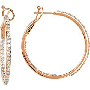 IceCarats Designer Jewelry 14K Rose Gold 14K Rose 1 1/3 Ctw Diamond Inside/Outside Hoops.