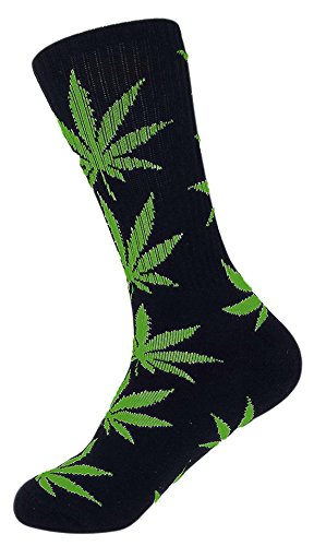 Zando Marijuana Weed Leaf Printed Cotton Colorful Sports High Crew Socks Black Green (Customize Baseball Jersey compare prices)