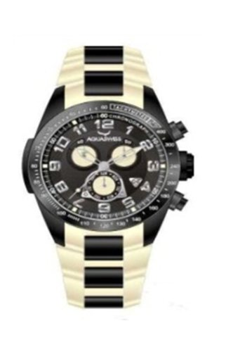 Aquaswiss Men's Black Dial Chronograph - Stainless Steel and Rubber in Beige - TIP61B1E