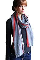 Women's Stripe Selvedge Gray Soft Lightweight Wool Fashion Scarf / Shawl / Wrap (2 Colors)