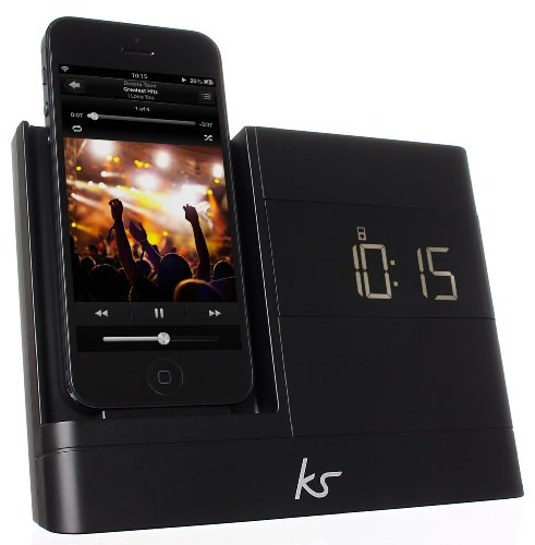 KitSound XDOCK2 Clock Radio Dock with Lightning Connector for iPhone 5/5S/5C, iPhone 6 (4.7 Inch), iPod Nano 7th Generation and iPod Touch 5th Generation - Black