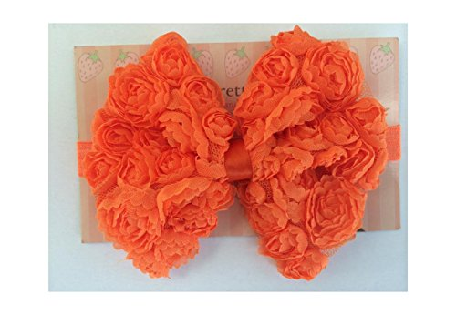 "4.5"" Large Rose Mesh Bows Baby Poshnpretty Headband - Orange"