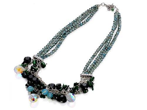 Bohemian Gypsy Jet Bead Chain Link Swarovski Crystal Art Triple Strand Necklace