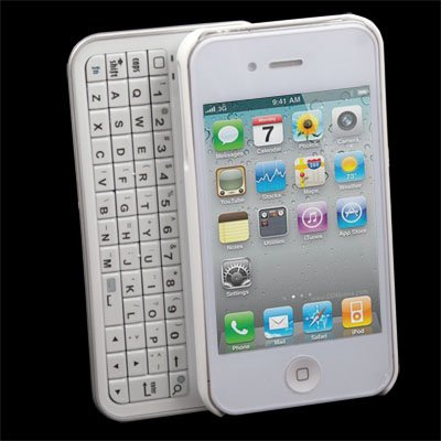 White Bluetooth slide out keyboard hard case iPhone 4