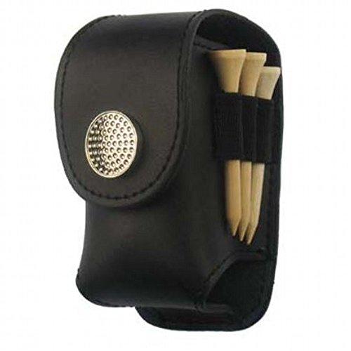 携帯 に 便利 レザー ゴルフ ボール ケース (ブラック)