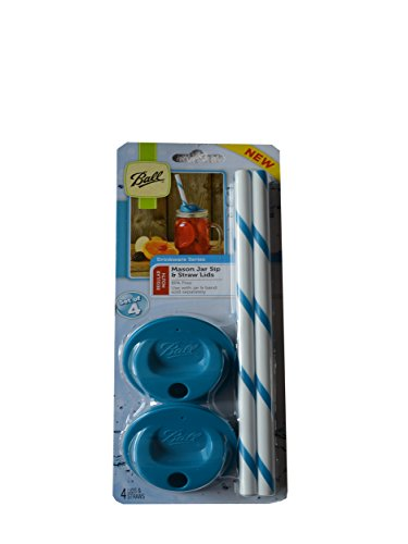Ball Mason Jar Sip and Straw Lids New Colors! Set of 4 (Regular Mouth, Blue) (Ball Sip And Straw Lids compare prices)