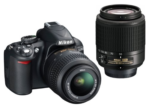 Nikon D3100 Digital SLR Camera with 18-55mm VR and 55-200mm Lens Kit (14.2MP, CMOS Sensor) 3 inch LCD