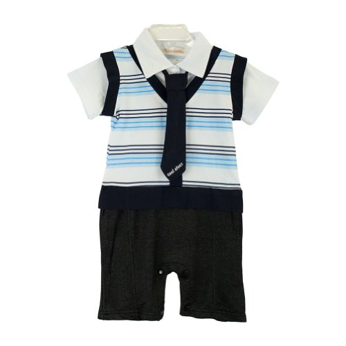 Baby Boys Toddler Kids Formal Suit All-in-one Bodysuit Romper Outfit Wedding New 3-24m (Size 90/12-18 months)