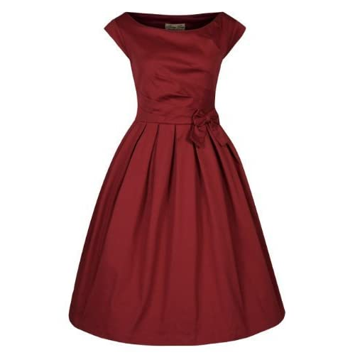 Lindy Bop 'Lucille' Classy 1950's Vintage Style Pleated Rockabilly Party Dress (L, Rust)