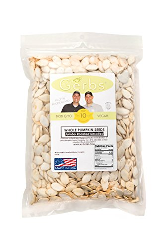 Jumbo Size Unsalted Pumpkin Seeds In Shell by Gerbs - 2 LBS - Top 11 Food Allergen Free & Non GMO - Premium Dry Roasted Whole Pepitas - COG USA (Unsalted Roasted Peanuts In Shell compare prices)