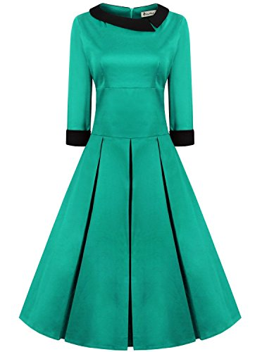 REORIA Women's Audrey Hepburn Turquoise Gorgeous Vintage 1950's Inspired Swing Pleated Dress Medium