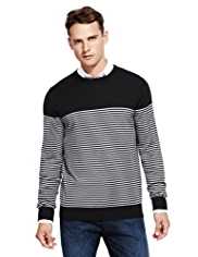 Autograph Pure Merino Wool Feeder Striped Jumper
