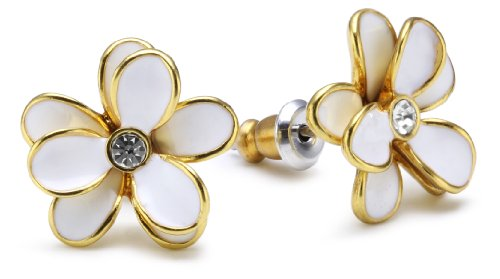 Pilgrim Women's Earring Classic Gold Plated, White 648963