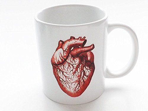red Anatomical Heart 11 oz. ceramic coffee mug professor physician medical resident gift (Scary Halloween Coffee Mugs)