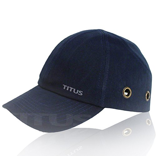 Titus Lightweight Safety Bump Cap - Baseball Style Protective Hat (Navy Blue) (Adjustable Hard Hat Insert compare prices)