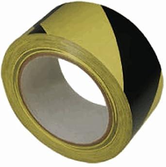 "Marian Black / Yellow Hazard Striped Tunnel Tape, 3"" x 40 yards, 1 Roll"