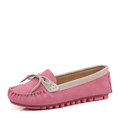 Chaussures casual féminin printemps/Haricot de cuir chaussures femme/Chaussures plates avec noeud/Chaussures Sweet