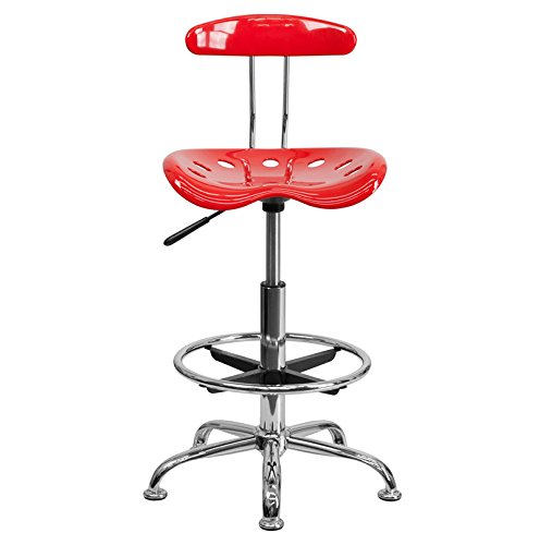 LF-215-RED-GG Vibrant Red and Chrome Drafting Stool with Tractor 300732