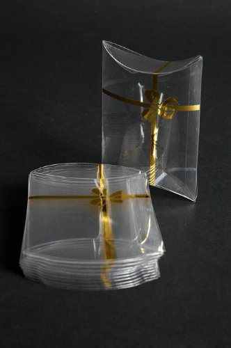 Small Clear Pillow Favor Boxes with Metallic Gold Bow - Set of 12
