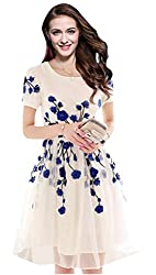 Rozdeal Designer Latest White & Blue Colour Semi Stitched Western Wear