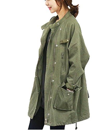 JingChuan   こなれ 感 コットン ミリタリー ジャケット コート レディース カジュアル ハーフ 丈 ゆったり フリーサイズ コート