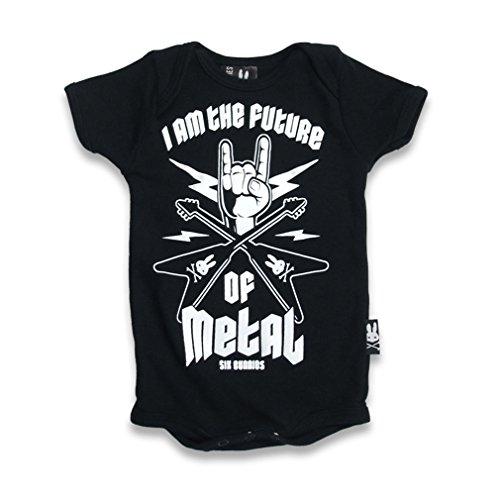 SIX Bunnies Baby body-Future OF Metal pagliaccetto Nero nero 3-6 Mesi