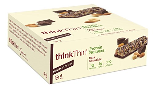 thinkThin Protein Nut Bar, Dark Chocolate, 1.41-Ounce Bars (pack of 10)