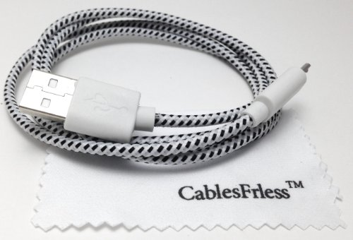Cablesfrless 3Ft Braided High Quality Durable Micro B 2.0 Usb Charging / Data Sync Cable Fits Android, Windows Phone, Samsung Galaxy S5, And Other Micro Usb 2.0 Compatible Devices (White)