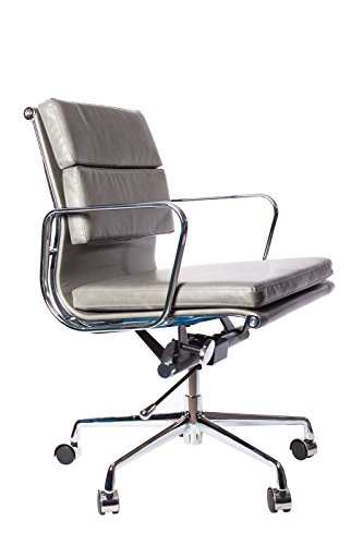 Vintage Grey Premier Leather Soft Pad Executive Management Office Replica Chair Swivel and Polished Aluminium Frame - Low Back 0