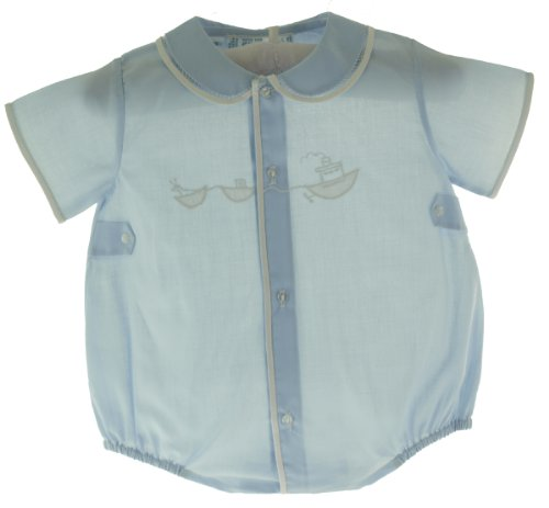 Feltman Brothers Infant Baby Boys Blue Bubble Outfit With White Embroidered Tugboat-Newborn front-372548