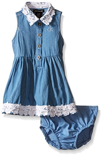 Calvin Klein Baby-Girls Light Denim Dress with Crochet Lace Trim, Blue, 12 Months