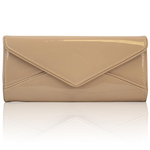 Zarla Ladies Patent Clutch Women Evening Envelope Bridal Party Shoulder Bags UK NEW