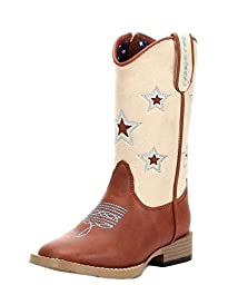 Double Barrel Toddler-Boys\' Lone Star Inlay Side Zipper Cowboy Boot Square Toe Brown 4 D(M) US