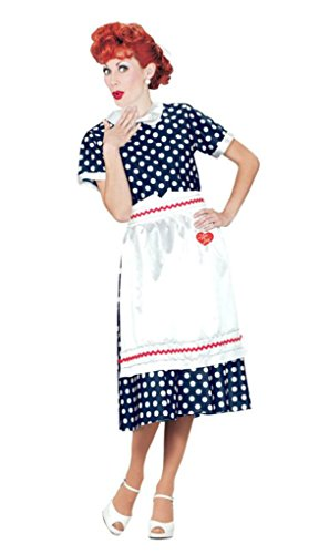 Pony Express Womens I Love Lucy Polka Dot Dress Halloween Themed Fancy Costume
